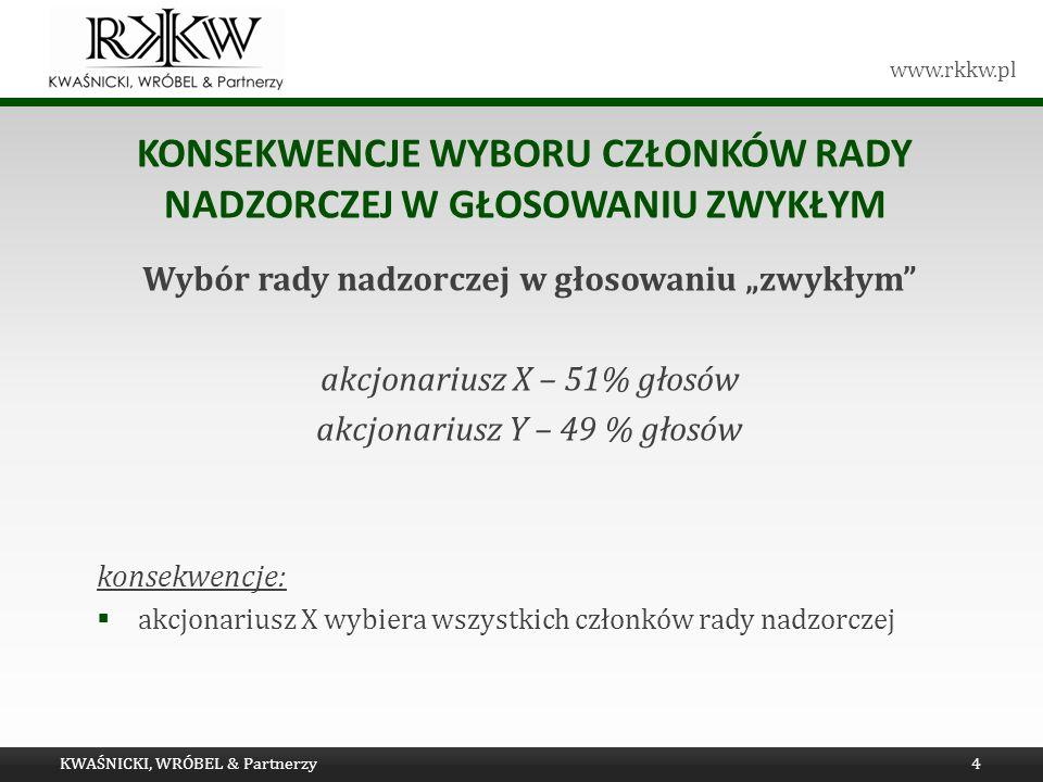www.rkkw.pl KONSEKWENCJE WYBORU CZŁONKÓW RADY NADZORCZEJ W GŁOSOWANIU ZWYKŁYM Wybór rady nadzorczej w głosowaniu zwykłym akcjonariusz X – 51% głosów a