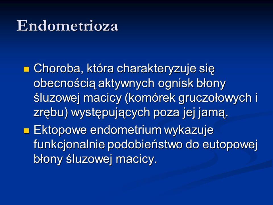 Endometrioza Patogeneza: zmieniające się poglądy Do lat 20 poprzedniego wieku endometrioza była uważana za niezłośliwą chorobę rozrostową występującą pod różnymi nazwami: cystadenoma, cystic fibrosis, adenomyoma Do lat 20 poprzedniego wieku endometrioza była uważana za niezłośliwą chorobę rozrostową występującą pod różnymi nazwami: cystadenoma, cystic fibrosis, adenomyoma W 1927 roku Sampson wprowadził termin endometrioza i zaproponował wsteczną menstruację ektopową implantację żywych fragmentów endometrium jako przyczynę tej choroby W 1927 roku Sampson wprowadził termin endometrioza i zaproponował wsteczną menstruację ektopową implantację żywych fragmentów endometrium jako przyczynę tej choroby Teoria implantacji współistnieje z teoriami metaplazji (1870) i indukcji (1955).
