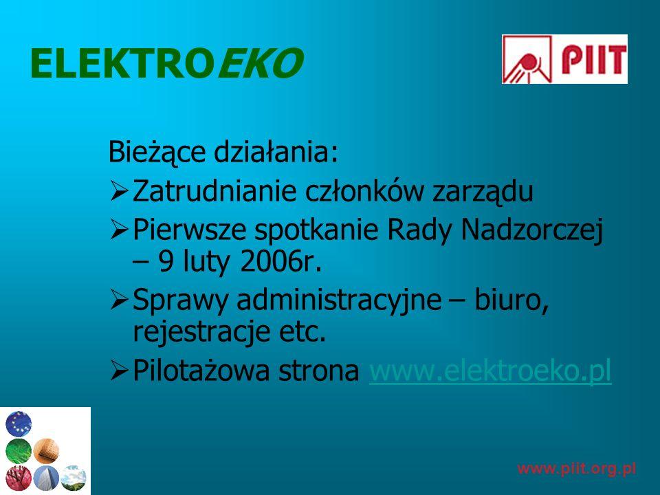 www.piit.org.pl ELEKTROEKO Bieżące działania: Zatrudnianie członków zarządu Pierwsze spotkanie Rady Nadzorczej – 9 luty 2006r. Sprawy administracyjne