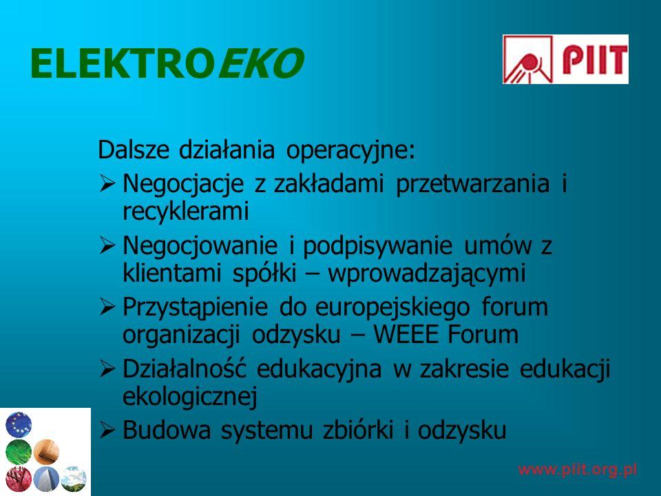 www.piit.org.pl ELEKTROEKO Dalsze działania operacyjne: Negocjacje z zakładami przetwarzania i recyklerami Negocjowanie i podpisywanie umów z klientam