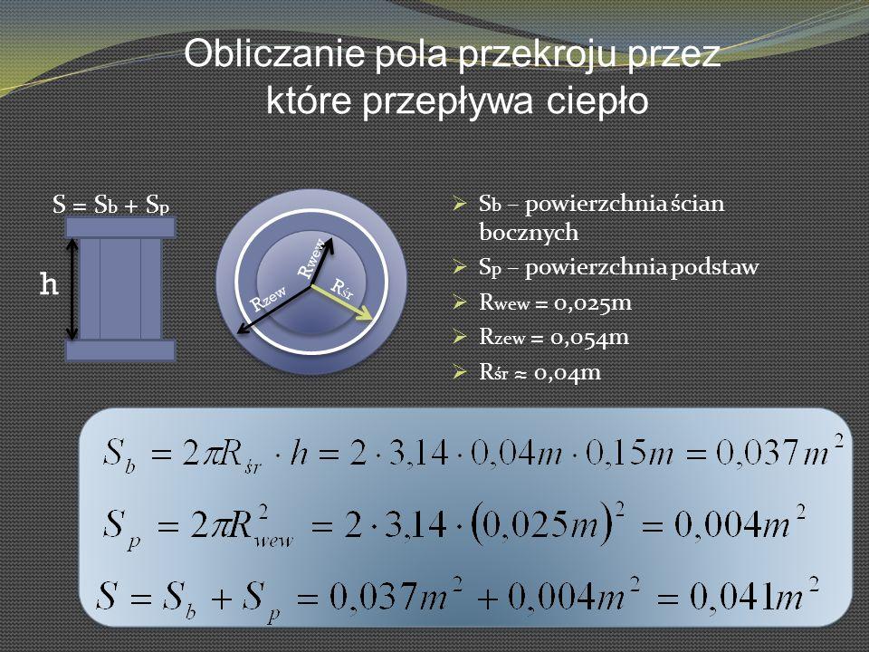 S = S b + S p S b – powierzchnia ścian bocznych S p – powierzchnia podstaw R wew = 0,025m R zew = 0,054m R śr 0,04m h R wew R zew RśrRśr Obliczanie po