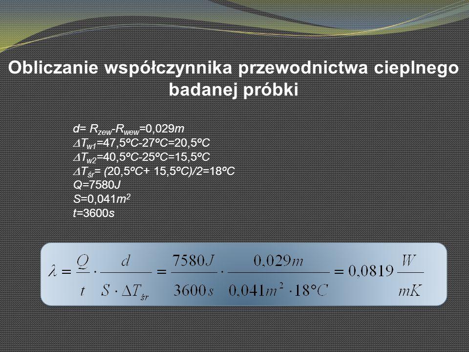 Obliczanie współczynnika przewodnictwa cieplnego badanej próbki d= R zew -R wew =0,029m T w1 =47,5ºC-27ºC=20,5ºC T w2 =40,5ºC-25ºC=15,5ºC T śr = (20,5