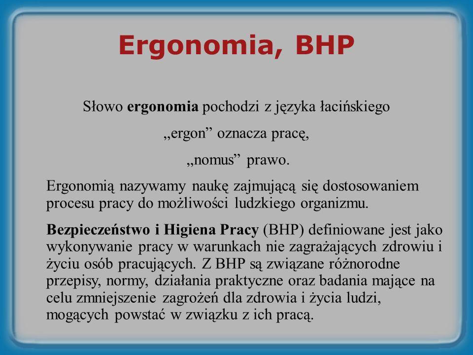 Ergonomia, BHP Słowo ergonomia pochodzi z języka łacińskiego ergon oznacza pracę, nomus prawo.