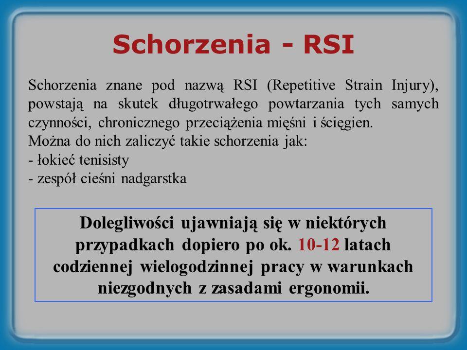 Schorzenia - RSI Schorzenia znane pod nazwą RSI (Repetitive Strain Injury), powstają na skutek długotrwałego powtarzania tych samych czynności, chronicznego przeciążenia mięśni i ścięgien.