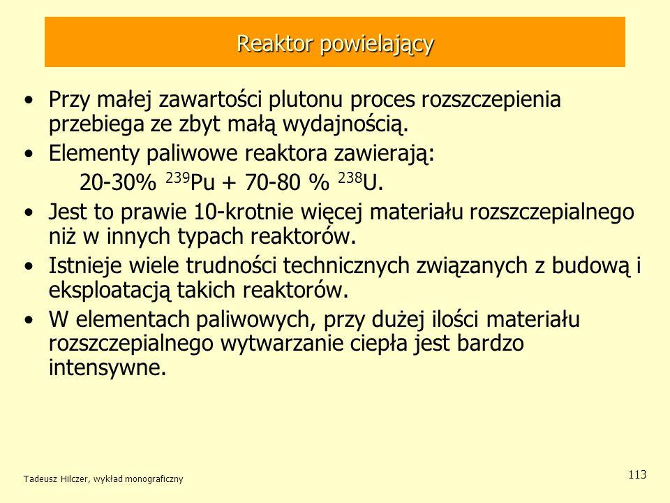 Tadeusz Hilczer, wykład monograficzny 113 Reaktor powielający Przy małej zawartości plutonu proces rozszczepienia przebiega ze zbyt małą wydajnością.