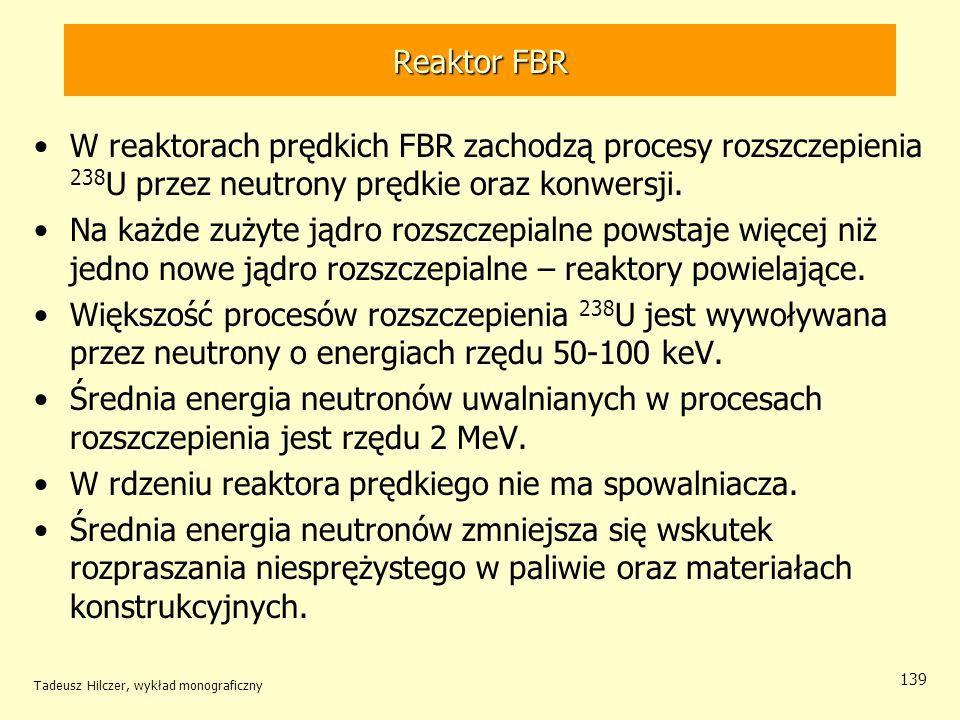Tadeusz Hilczer, wykład monograficzny 139 Reaktor FBR W reaktorach prędkich FBR zachodzą procesy rozszczepienia 238 U przez neutrony prędkie oraz konw