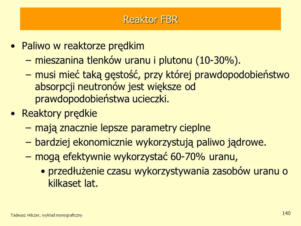 Tadeusz Hilczer, wykład monograficzny 140 Reaktor FBR Paliwo w reaktorze prędkim –mieszanina tlenków uranu i plutonu (10-30%). –musi mieć taką gęstość