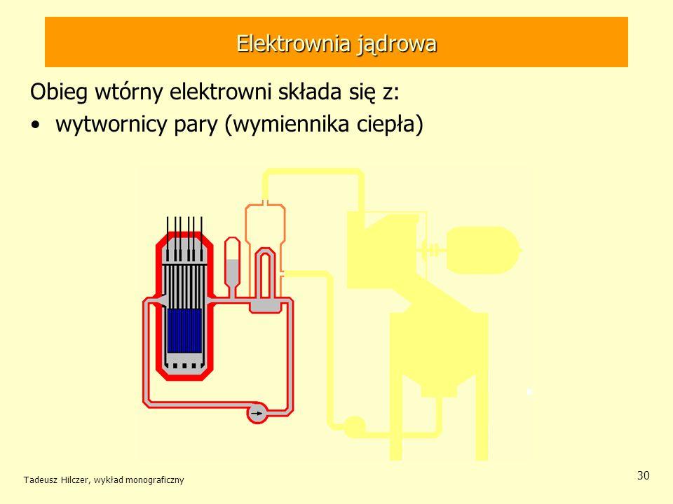 Tadeusz Hilczer, wykład monograficzny 30 Elektrownia jądrowa Obieg wtórny elektrowni składa się z: wytwornicy pary (wymiennika ciepła) Elektrownia jąd