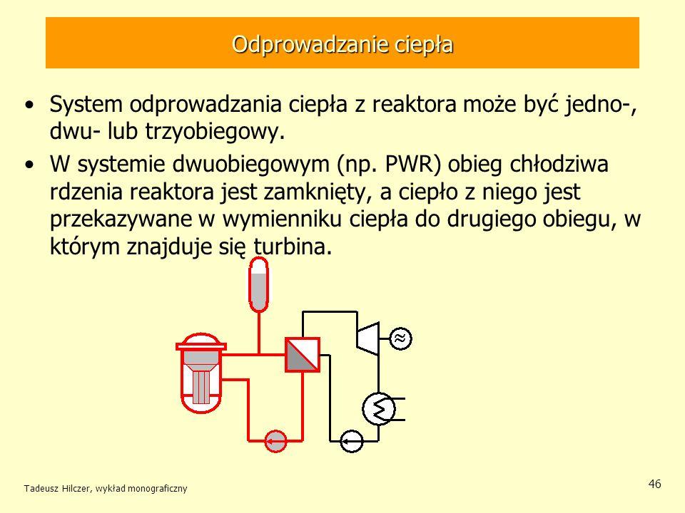 Tadeusz Hilczer, wykład monograficzny 46 Odprowadzanie ciepła System odprowadzania ciepła z reaktora może być jedno-, dwu- lub trzyobiegowy. W systemi