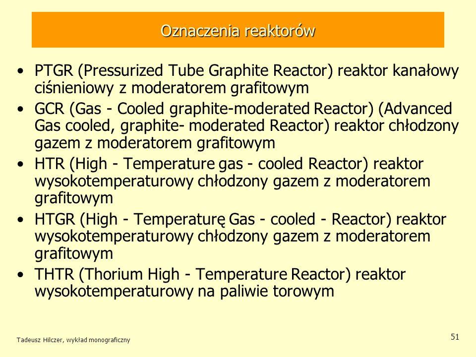 Tadeusz Hilczer, wykład monograficzny 51 Oznaczenia reaktorów PTGR (Pressurized Tube Graphite Reactor) reaktor kanałowy ciśnieniowy z moderatorem graf