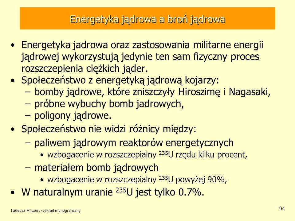 Tadeusz Hilczer, wykład monograficzny 94 Energetyka jądrowa a broń jądrowa Energetyka jadrowa oraz zastosowania militarne energii jądrowej wykorzystuj