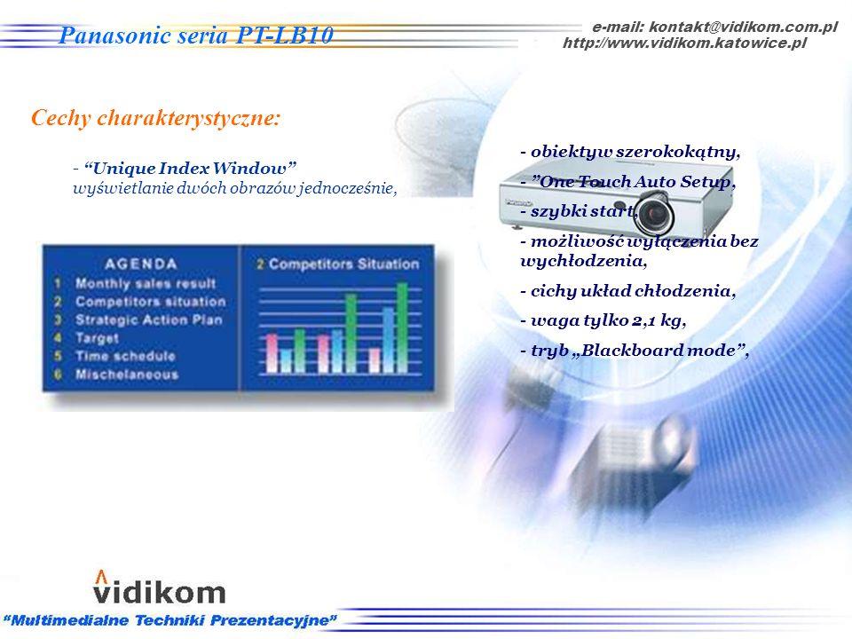 -Tryb Blackboard mode wyświetlanie obrazu na ciemnej tablicy e-mail: kontakt@vidikom.com.pl http://www.vidikom.katowice.pl Panasonic seria PT-LB10 Cec