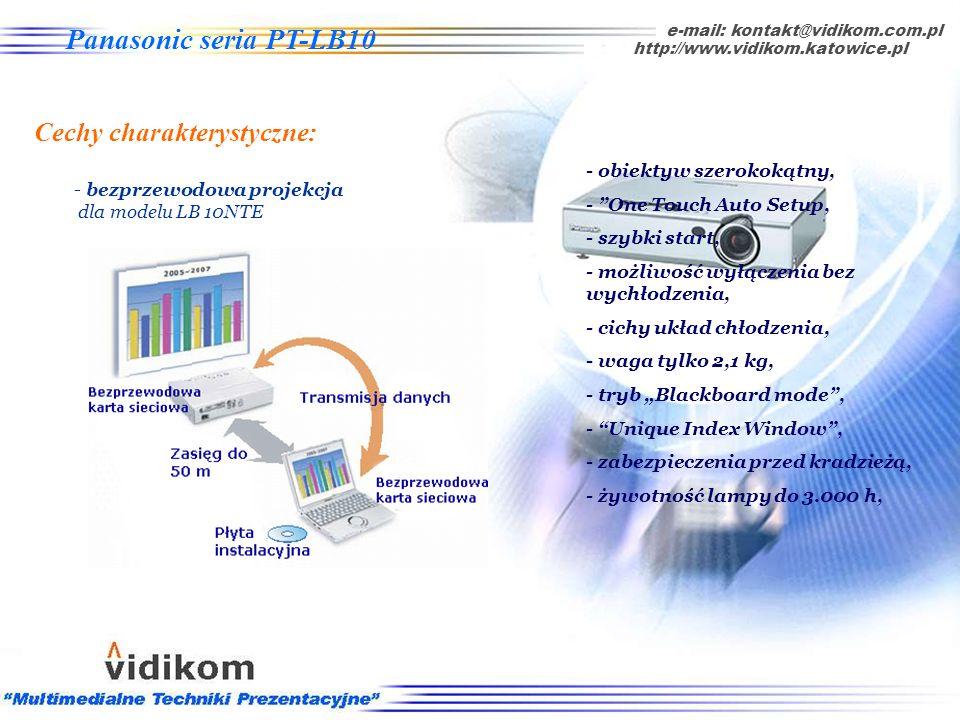 - żywotność lampy do 3.000 godzin, e-mail: kontakt@vidikom.com.pl http://www.vidikom.katowice.pl Panasonic seria PT-LB10 Cechy charakterystyczne: - ob