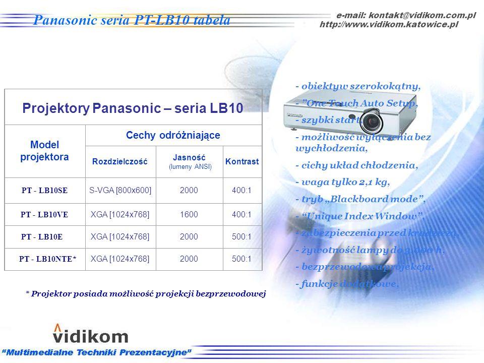 e-mail: kontakt@vidikom.com.pl auto setup, http://www.vidikom.katowice.pl Panasonic seria PT-LB10 Cechy charakterystyczne: - funkcje dodatkowe: automa