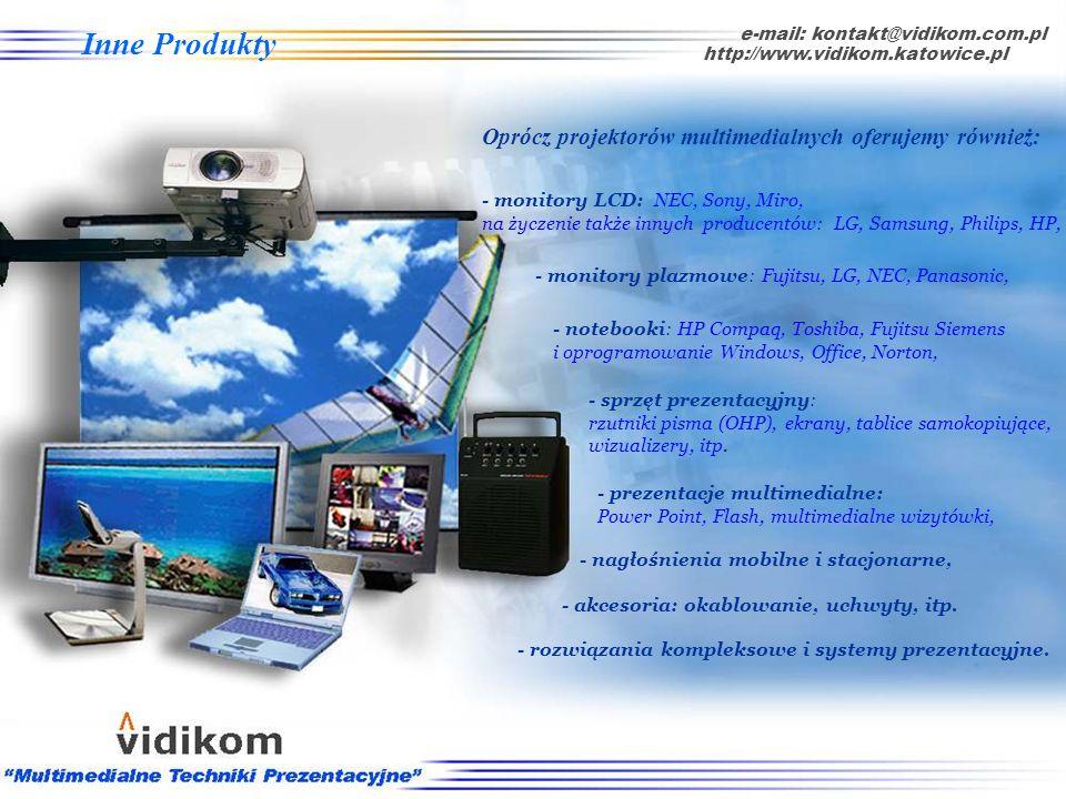 * Projektor posiada możliwość projekcji bezprzewodowej e-mail: kontakt@vidikom.com.pl http://www.vidikom.katowice.pl Panasonic seria PT-LB10 tabela Pr