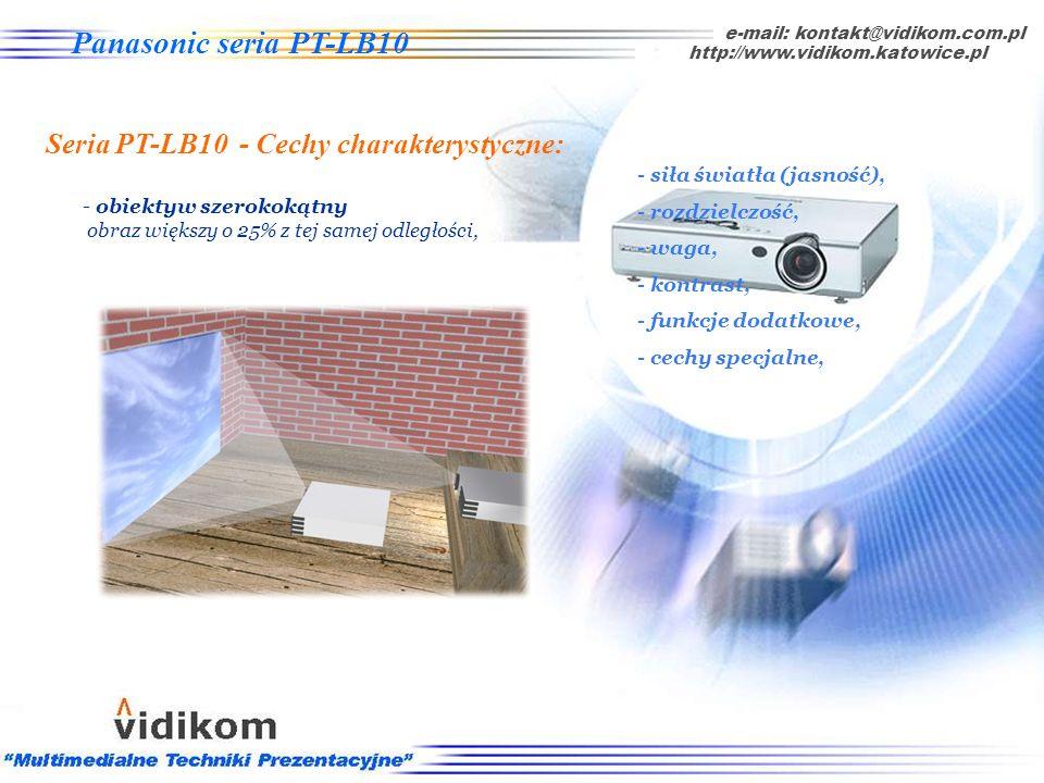 O projektorach - cechy specjalne np. obiektyw szerokokątny e-mail: kontakt@vidikom.com.pl http://www.vidikom.katowice.pl Cechy charakterystyczne: - si
