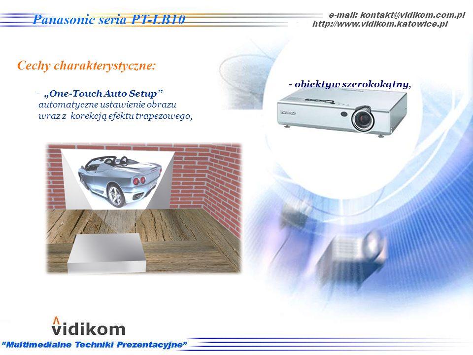 Panasonic seria PT-LB10 - obiektyw szerokokątny obraz większy o 25% z tej samej odległości, e-mail: kontakt@vidikom.com.pl Seria PT-LB10 - Cechy chara