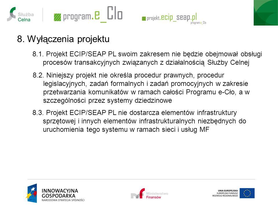 8.1. Projekt ECIP/SEAP PL swoim zakresem nie będzie obejmował obsługi procesów transakcyjnych związanych z działalnością Służby Celnej 8. Wyłączenia p