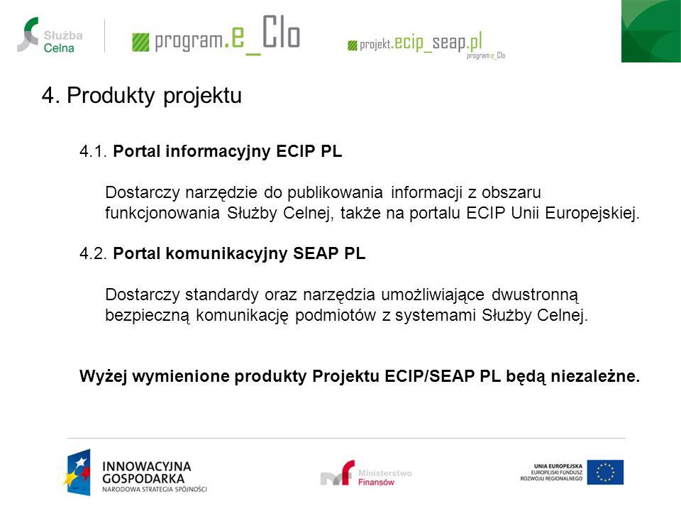 4. Produkty projektu 4.1. Portal informacyjny ECIP PL Dostarczy narzędzie do publikowania informacji z obszaru funkcjonowania Służby Celnej, także na