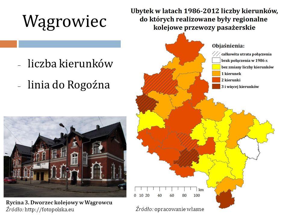 Wągrowiec – liczba kierunków – linia do Rogoźna Rycina 2. Przebieg linii Poznań Wschód - Wągrowiec Źródło: http://mapa.kolej.one.pl/ Źródło: opracowan