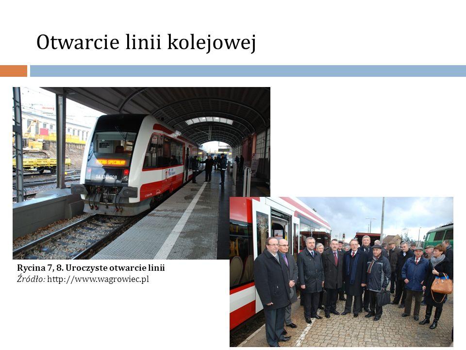 Otwarcie linii kolejowej Rycina 7, 8. Uroczyste otwarcie linii Źródło: http://www.wagrowiec.pl