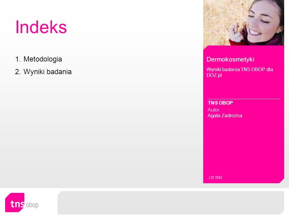 Indeks Dermokosmetyki Wyniki badania TNS OBOP dla DOZ.pl TNS OBOP Autor Agata Zadrożna | © TNS 1.MetodologiaMetodologia 2.Wyniki badaniaWyniki badania