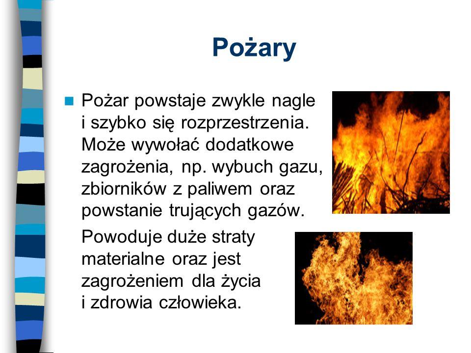 Pożary Pożar powstaje zwykle nagle i szybko się rozprzestrzenia.