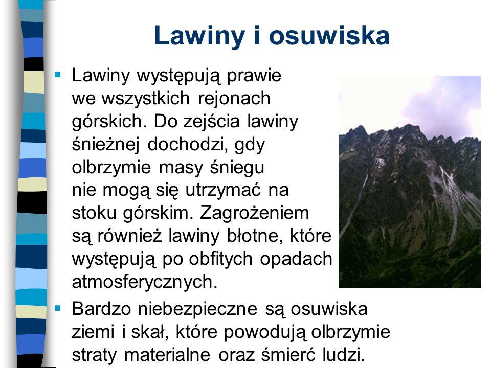 Lawiny i osuwiska Lawiny występują prawie we wszystkich rejonach górskich.