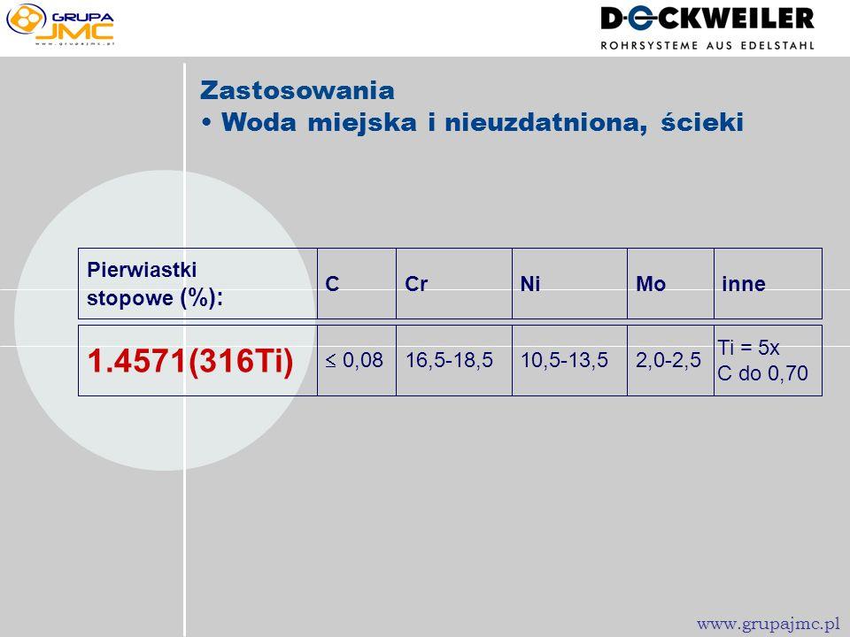 NiCrC Pierwiastki stopowe (%): 8,0-10,517,0-19,5 0,07 1.4301 (304) Zastosowania Woda chłodząca, sprężone powietrze itp. www.grupajmc.pl