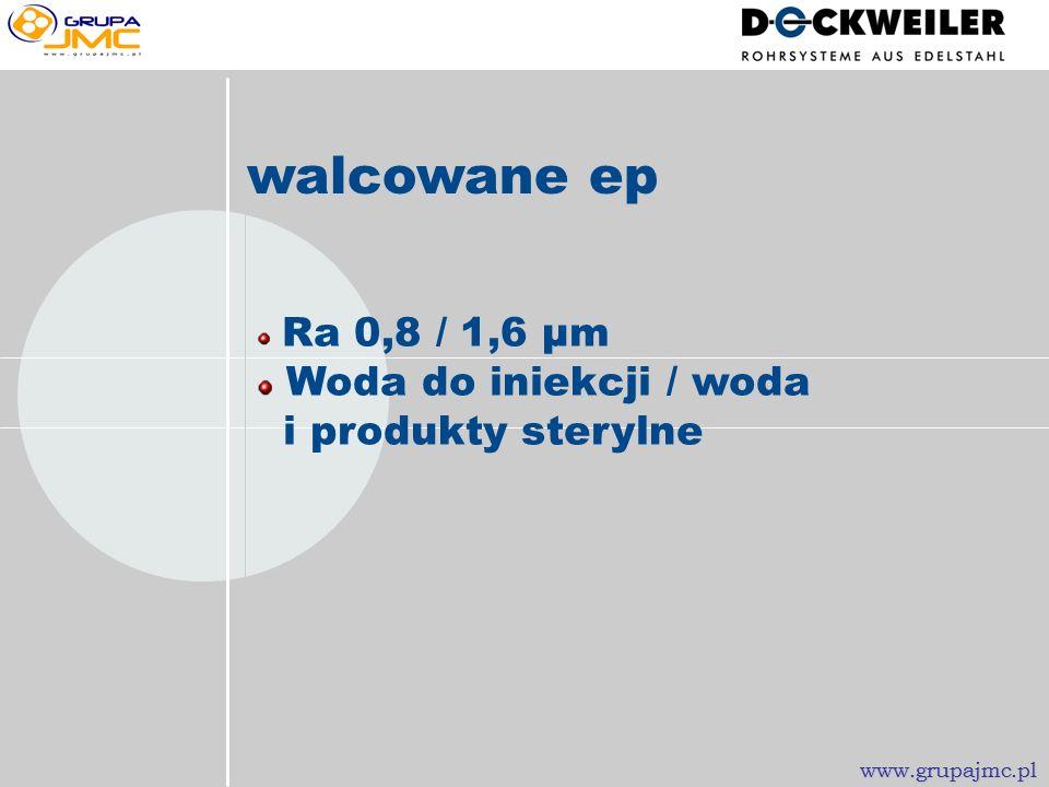 Ra 0,8 / 1,6 µm Woda miejska i nieuzdatniona, produkty walcowane www.grupajmc.pl