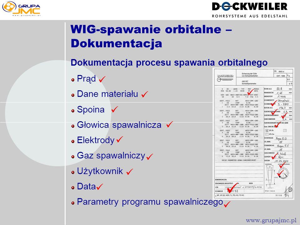 WIG-Spawanie orbitalne www.grupajmc.pl Obróbka końcowa spawów Trawienie HF/HNO 3 pasta, kąpiel, przepływ Pasywacja HNO 3, ligandy chelatowe Zalety spa