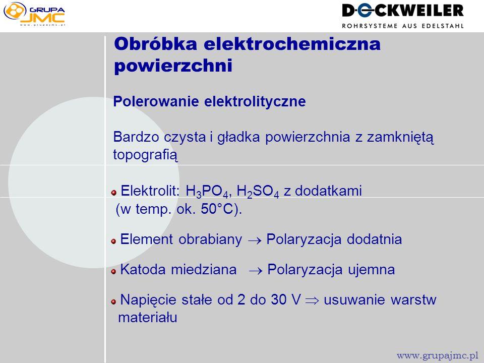-Trawienie Powiekszenie ok. 500 30 µm www.grupajmc.pl Rura 12,70 1,22mm, trawiona w HF/HNO 3 (HENKEL-Prozeß/Chemikalien), R a = 0,40 µm