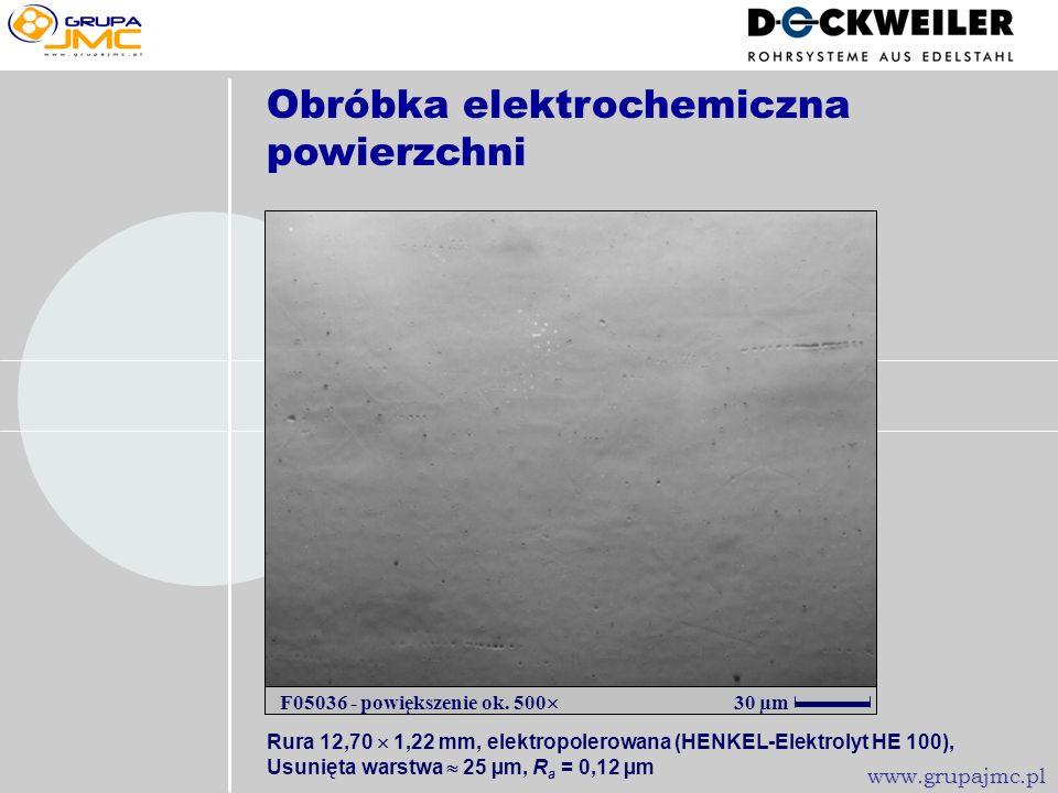 Obróbka elektrochemiczna powierzchni 50 µm H13403/1420922 - powiększenie ok 500 www.grupajmc.pl Rura 6,35 x 0,91mm, elektropolerowana (HENKEL-Elektrol
