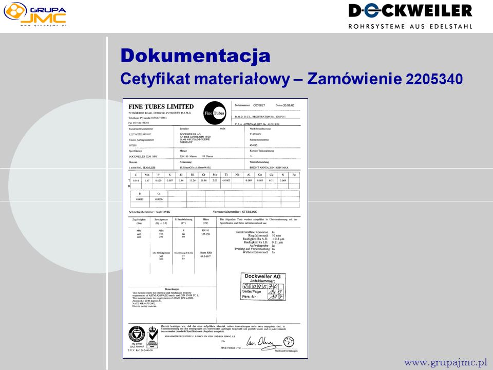 Porównanie trawionej...... i elektropolerownej powierzchni Obróbka elektrochemiczna powierzchni www.grupajmc.pl