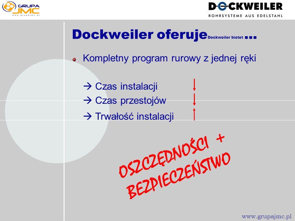Czyste powierzchnie Optymalne spawy Mniej odpadów Liczba próbnych spawów Obszerność dokumentacji Wąskie tolerancje Czas przygotowania Dockweiler oferu