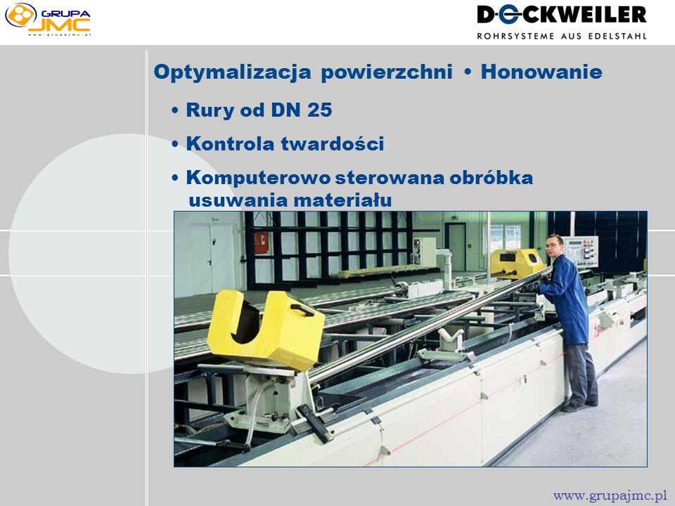 Rury od DN 25 Komputerowo sterowana obróbka usuwania materiału Kontrola twardości Optymalizacja powierzchni Honowanie www.grupajmc.pl