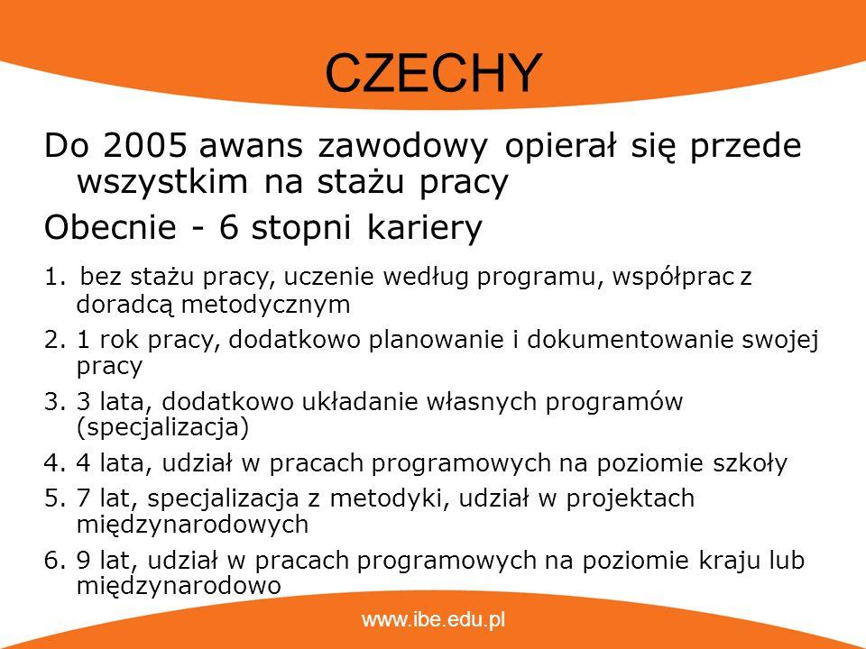 www.ibe.edu.pl CZECHY Do 2005 awans zawodowy opierał się przede wszystkim na stażu pracy Obecnie - 6 stopni kariery 1. bez stażu pracy, uczenie według