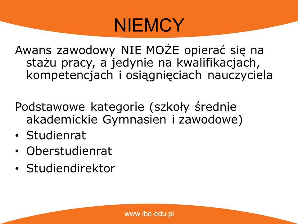 www.ibe.edu.pl NIEMCY Awans zawodowy NIE MOŻE opierać się na stażu pracy, a jedynie na kwalifikacjach, kompetencjach i osiągnięciach nauczyciela Podst