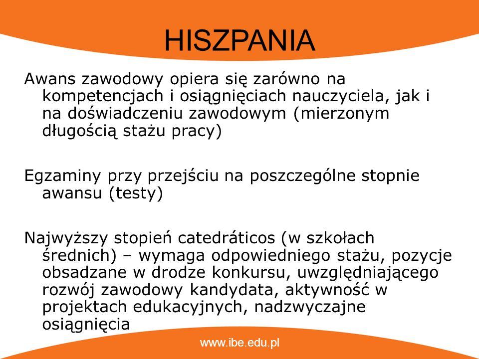 www.ibe.edu.pl HISZPANIA Awans zawodowy opiera się zarówno na kompetencjach i osiągnięciach nauczyciela, jak i na doświadczeniu zawodowym (mierzonym d