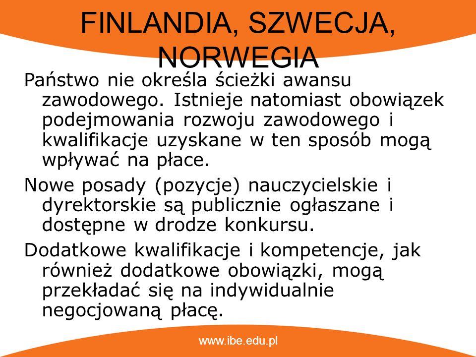 www.ibe.edu.pl WIELKA BRYTANIA (ANGLIA) Dwie ścieżki awansu: w oparciu o standardy zawodowe (kompetencje) kierownicza (stanowiska określa sama szkoła)