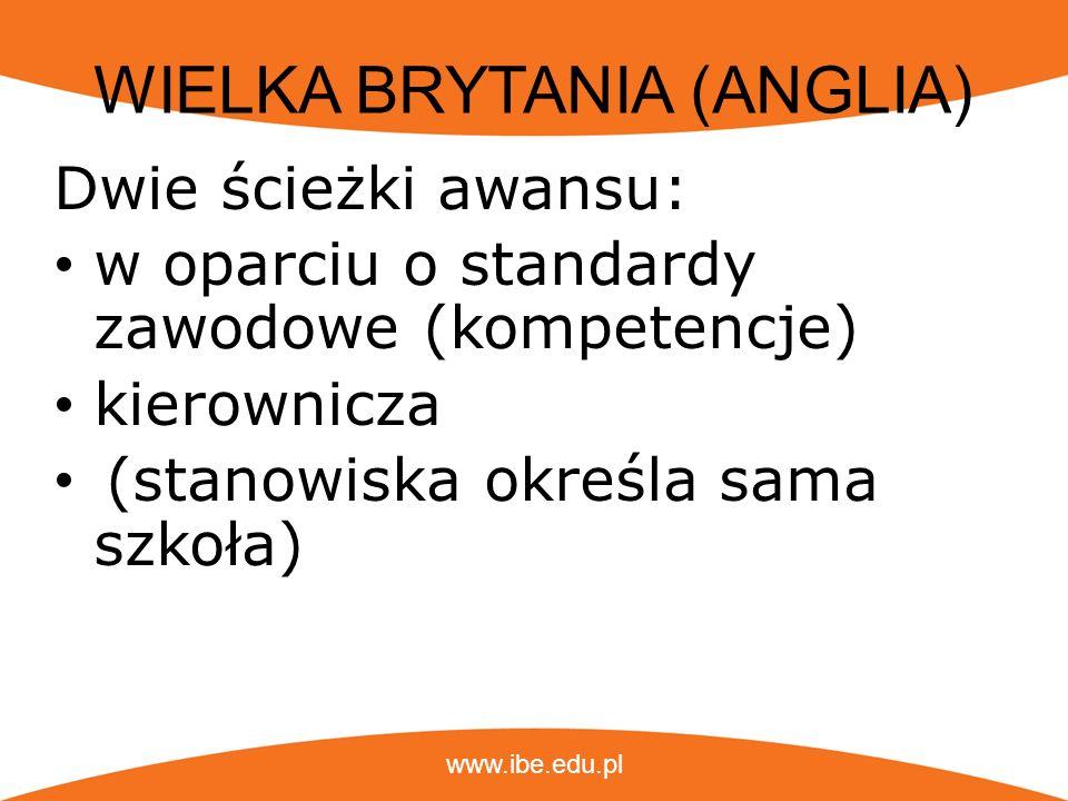 www.ibe.edu.pl WIELKA BRYTANIA (ANGLIA) Stanowiska określa sama szkoła, ale najczęściej hierarchia stanowisk odpowiada następującej: obowiązki nadzorcze, w tym wspieranie i doradztwo uczniom, kontakty z rodzicami, np.
