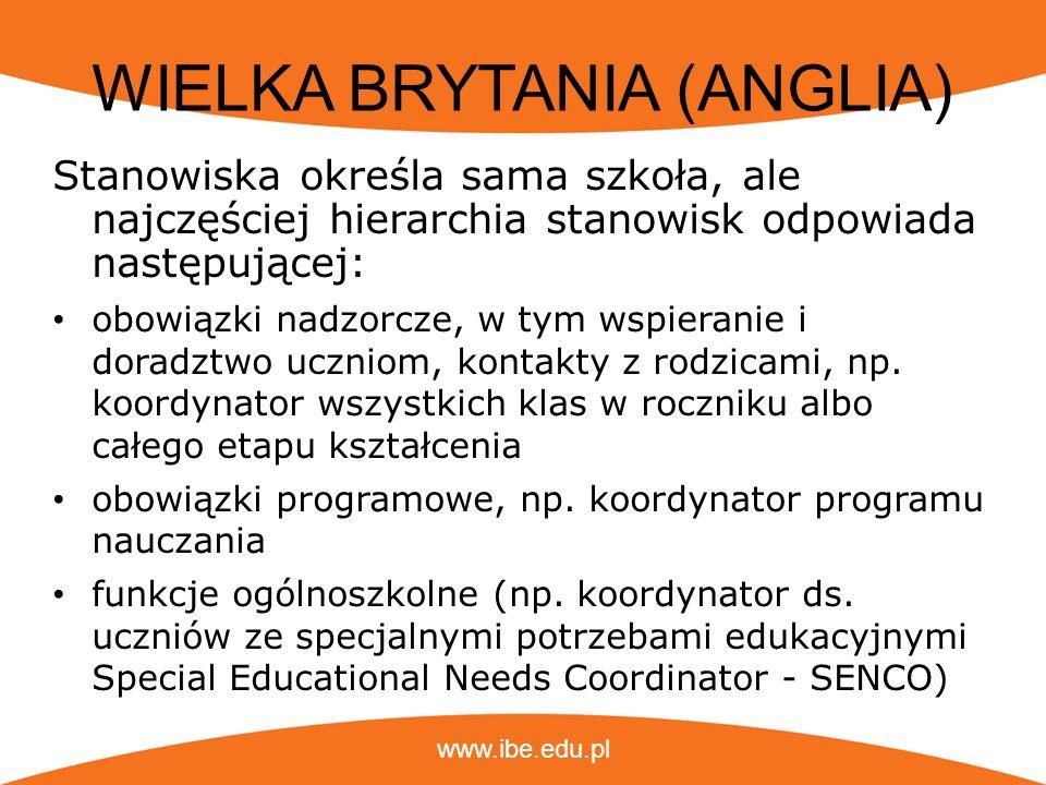 www.ibe.edu.pl WIELKA BRYTANIA (ANGLIA) Stanowiska określa sama szkoła, ale najczęściej hierarchia stanowisk odpowiada następującej: obowiązki nadzorc