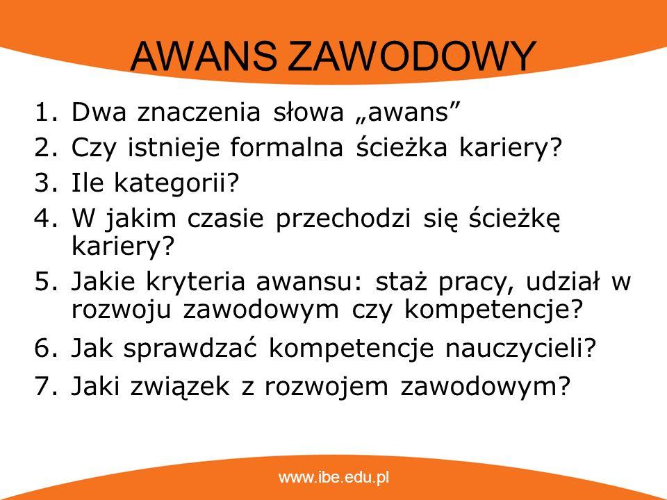 www.ibe.edu.pl AWANS ZAWODOWY 1.Dwa znaczenia słowa awans 2.Czy istnieje formalna ścieżka kariery? 3.Ile kategorii? 4.W jakim czasie przechodzi się śc