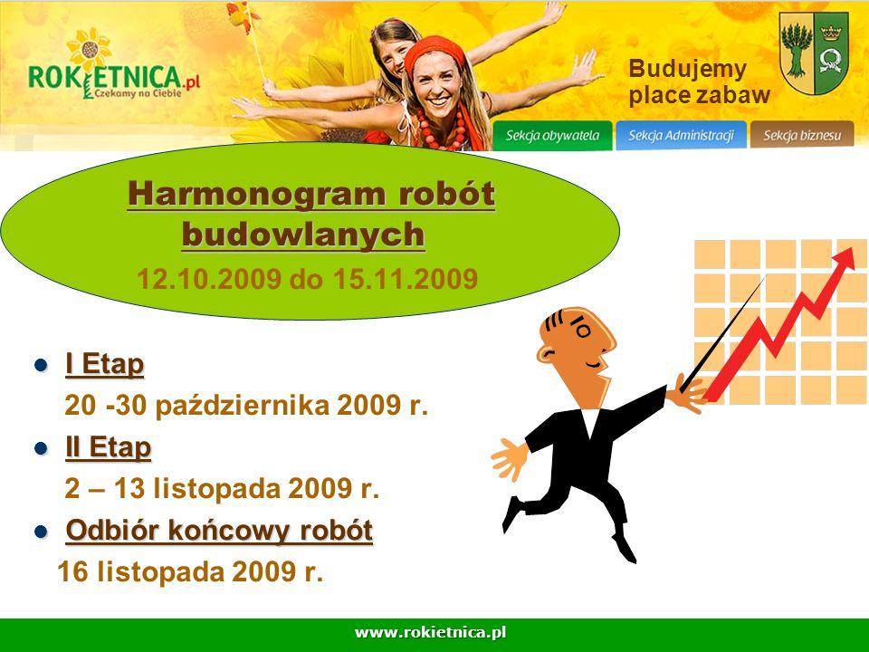 www.rokietnica.pl Budujemy place zabaw Harmonogram robót budowlanych 12.10.2009 do 15.11.2009 I Etap I Etap 20 -30 października 2009 r. II Etap II Eta