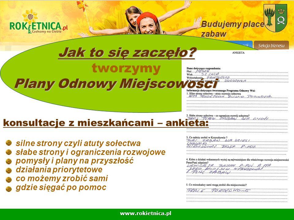 www.rokietnica.pl konsultacje z mieszkańcami – ankieta: Jak to się zaczęło? Jak to się zaczęło? tworzymy Plany Odnowy Miejscowości Budujemy place zaba