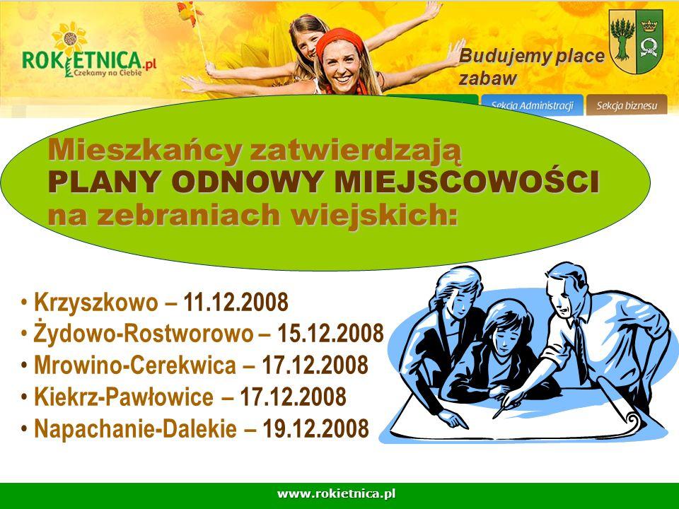 www.rokietnica.pl Mieszkańcy zatwierdzają PLANY ODNOWY MIEJSCOWOŚCI na zebraniach wiejskich: Budujemy place zabaw Krzyszkowo – 11.12.2008 Żydowo-Rostw