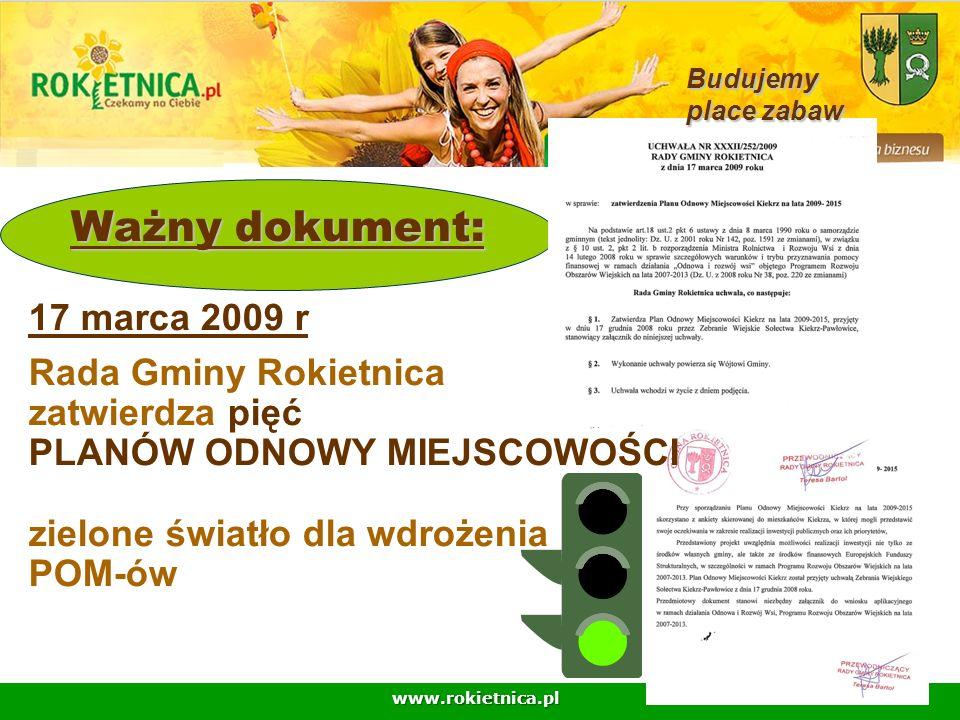 www.rokietnica.pl Ważny dokument: Ważny dokument: 17 marca 2009 r Rada Gminy Rokietnica zatwierdza pięć PLANÓW ODNOWY MIEJSCOWOŚCI zielone światło dla