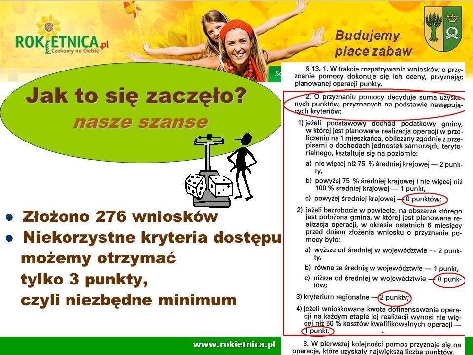 www.rokietnica.pl Jak to się zaczęło? Jak to się zaczęło? nasze szanse nasze szanse Złożono 276 wniosków Niekorzystne kryteria dostępu możemy otrzymać
