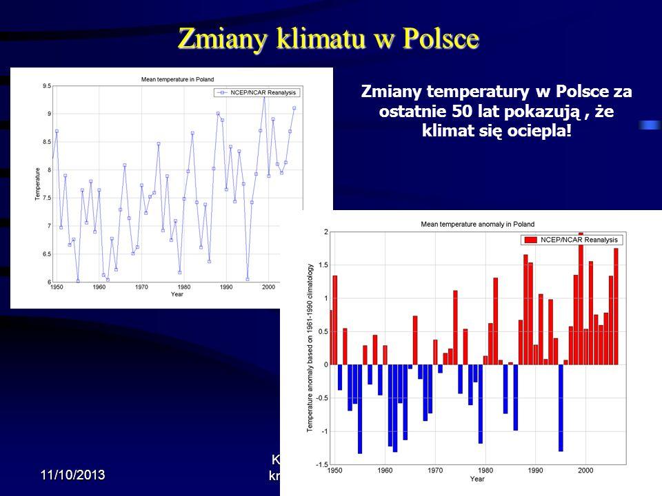 Zmiany klimatu w Polsce 11/10/2013 Krzysztof Markowicz kmark@igf.fuw.edu.pl Zmiany temperatury w Polsce za ostatnie 50 lat pokazują, że klimat się oci