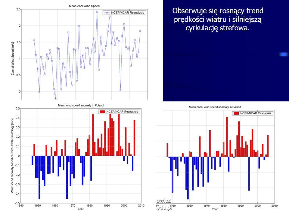 11/10/2013 Krzysztof Markowicz kmark@igf.fuw.edu.pl Obserwuje się rosnący trend prędkości wiatru i silniejszą cyrkulację strefowa.